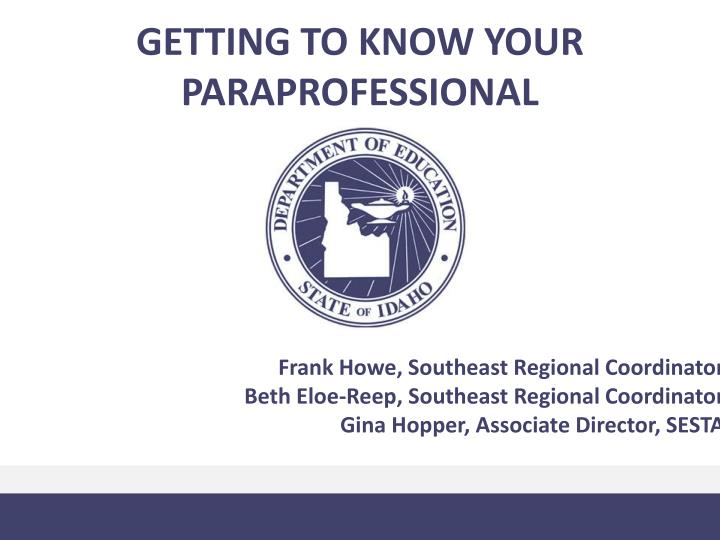 getting to know your paraprofessional n.