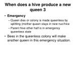 when does a hive produce a new queen 3