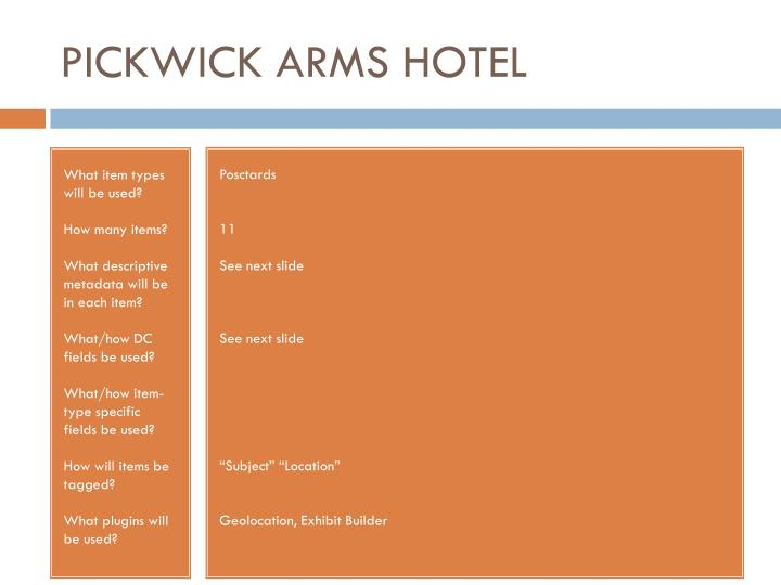 PICKWICK ARMS HOTEL