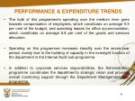 performance expenditure trends