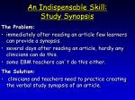 an indispensable skill study synopsis