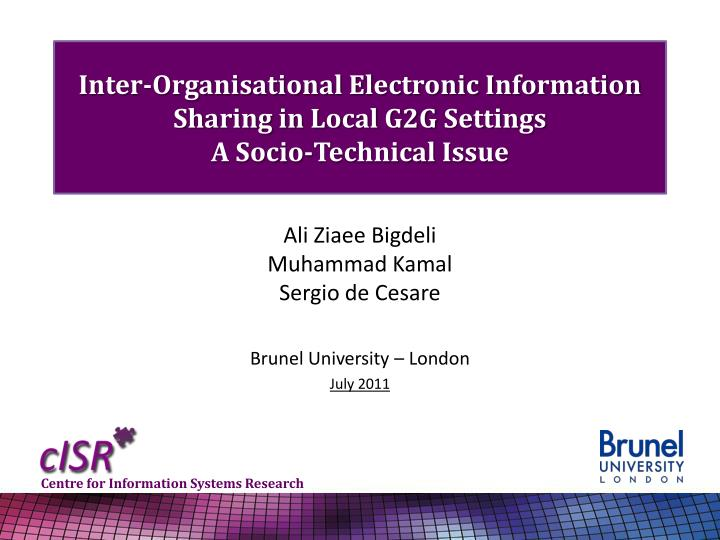 inter organisational electronic information sharing in local g2g settings a socio technical issue n.
