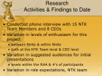 research activities findings to date