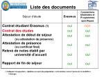 liste des documents