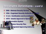 acronyms definitions cont d