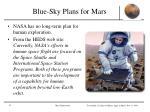 blue sky plans for mars
