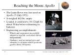 reaching the moon apollo
