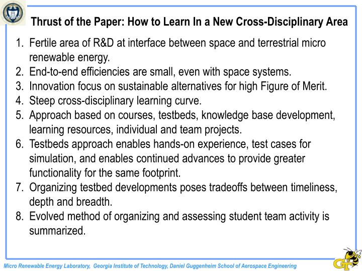 Thrust of the Paper: How to Learn In a New Cross-Disciplinary Area