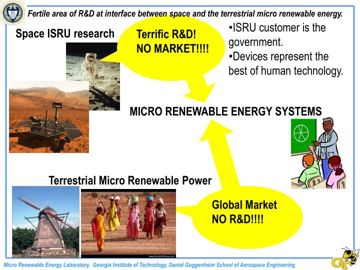Fertile area of R&D at interface between space and the terrestrial micro renewable energy.