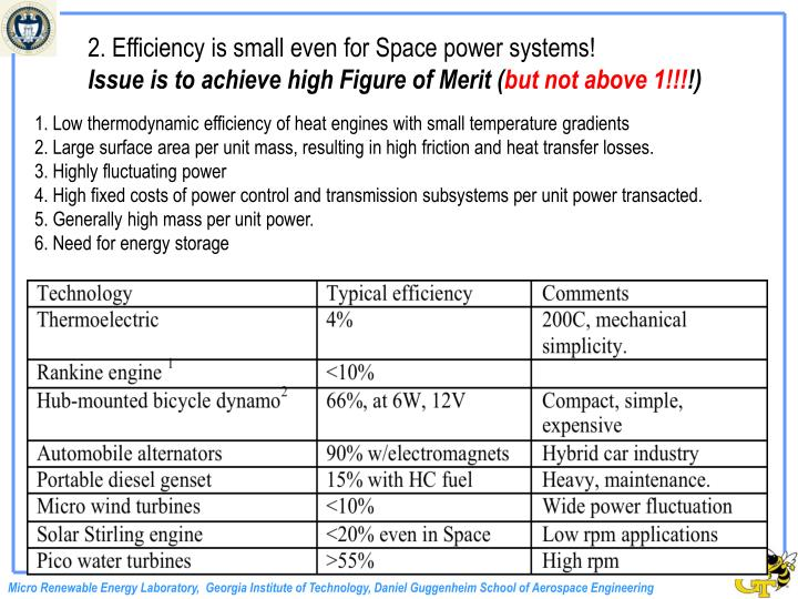 2. Efficiency is small even for Space power systems!