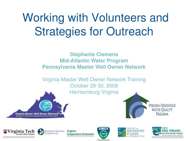 working with volunteers and strategies for outreach n.