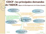 cdcf les principales demandes de l adck agence de d veloppement de la culture kanake