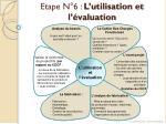 etape n 6 l utilisation et l valuation