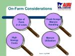 on farm considerations