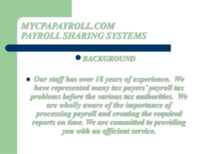 Mycpapayroll com payroll sharing systems