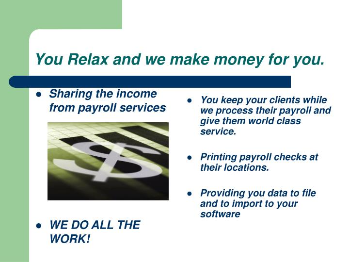 Sharing the income from payroll services
