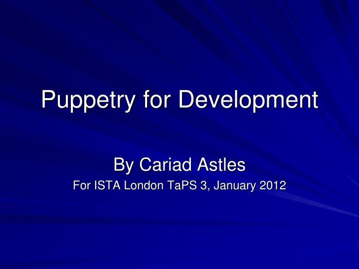 puppetry for development n.