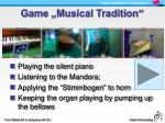 game musical tradition