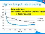 high vs low pot rate of cooling
