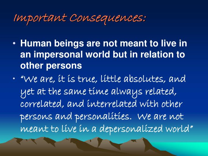Important Consequences: