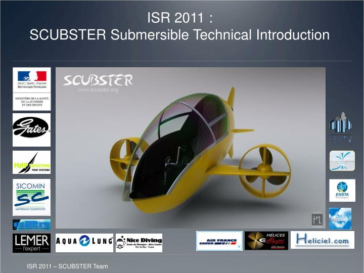 isr 2011 scubster submersible technical introduction n.