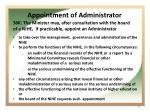 appointment of administrator
