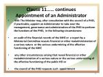 clause 11 continues appointment of an administrator
