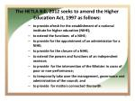 the hetla bill 2012 seeks to amend the higher education act 1997 as follows