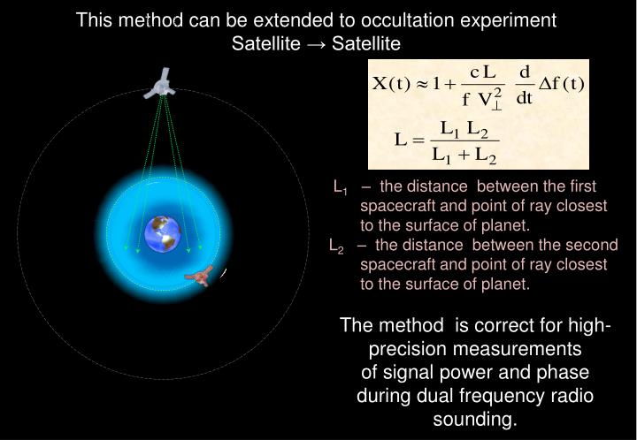 This method can be extended to occultation experiment