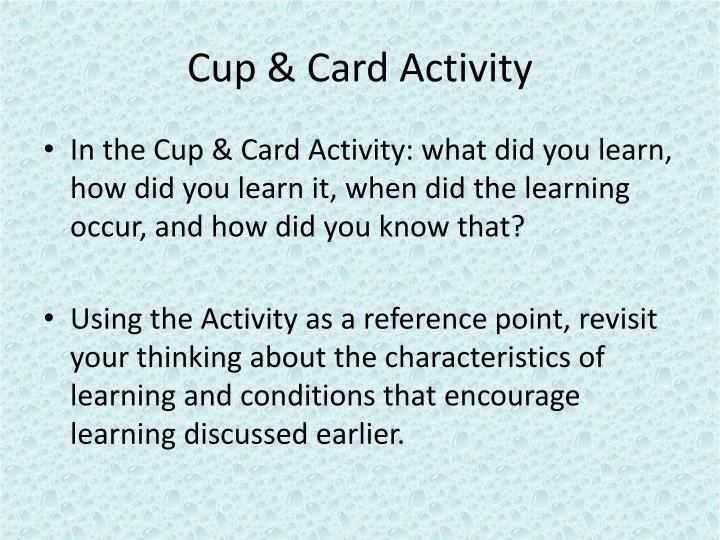 Cup & Card Activity