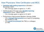 how physicians view certification and moc