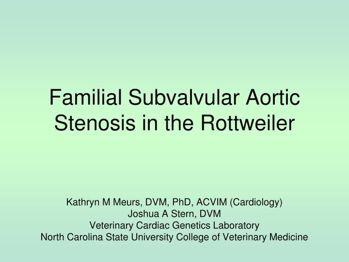 familial subvalvular aortic stenosis in the rottweiler n.
