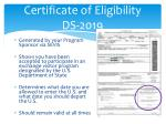 certificate of eligibility ds 2019