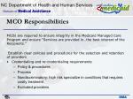 mco responsibilities