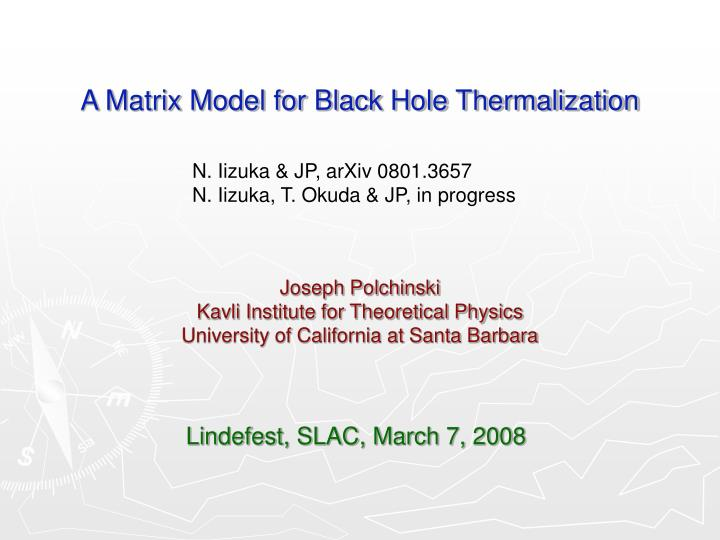 a matrix model for black hole thermalization n.