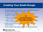 creating your small groups