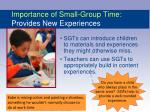 importance of small group time provides new experiences