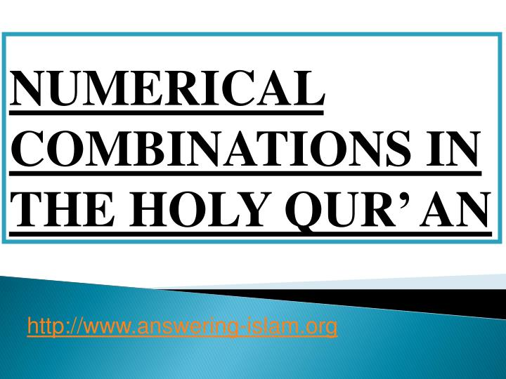 numerical combinations in the holy qur an n.