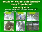 scope of repair maintenance work completed carpentry work