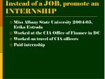 instead of a job promote an internship