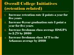 overall college initiatives retention related