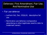 defenses first amendment fair use and nominative use