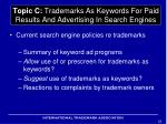 topic c trademarks as keywords for paid results and advertising in search engines