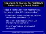 trademarks as keywords for paid results and advertising in search engines