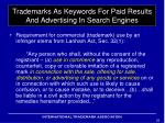 trademarks as keywords for paid results and advertising in search engines1