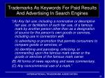 trademarks as keywords for paid results and advertising in search engines11