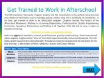 get trained to work in afterschool