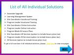 list of all individual solutions