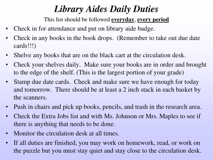 Library Aides Daily Duties