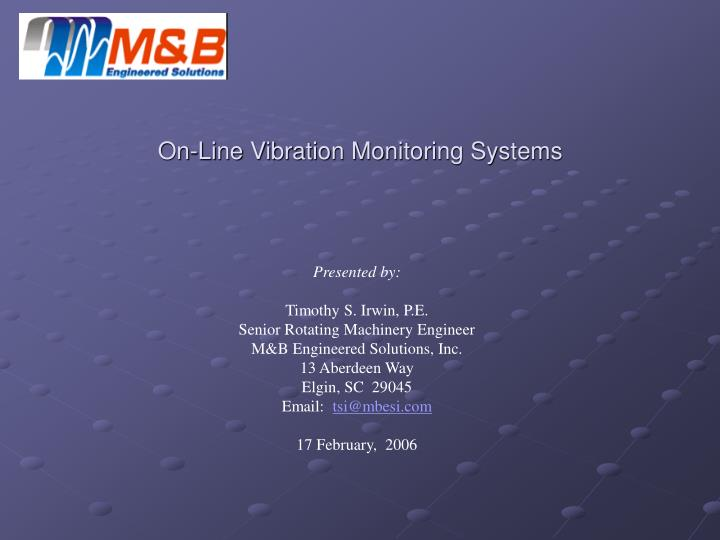 on line vibration monitoring systems n.